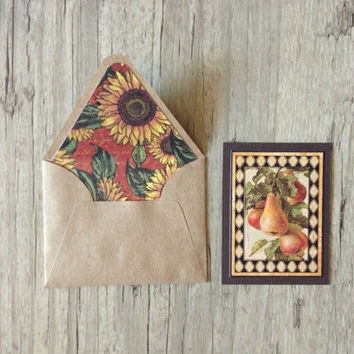 Crafted small cards with envelopes - set of 3 greeting thanks card - sunflower french country - red black yellow rustic - europeanstreetteam