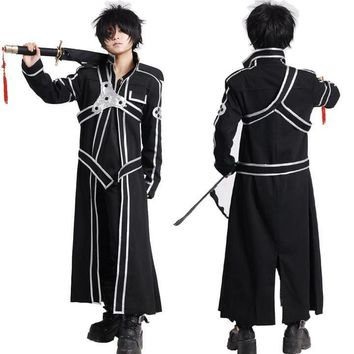 Sword Art Online SAO Kirito Kirigaya Kazuto Robe Cosplay Costumes Long Overcoat Trench Coat ( Cloak + Belt + Shoulder straps )