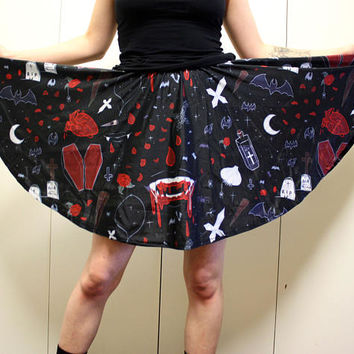 Vampire Night Skater Skirt - Goth / Horror Pattern on a Black Skirt - One Size and Plus Size