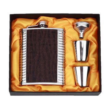 8oz Leather Stainless Steel Hip Flask Set Whiskey Flagon with Funnel Cups Alcoho
