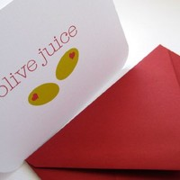 olive juice- Valentine cards, set of 6