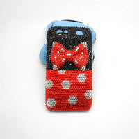 Handmade hard case for Motorola Droid Razr: Bling red diamond bow (customized are welcome)