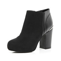 River Island Womens Black block heel ankle boots