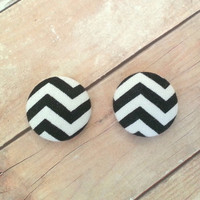 Womens Earrings, Chevron Earrings, Black and White Stud Earrings , Button Earrings, Fabric Covered Stud Earrings