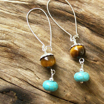 Tiger eye and turquoise howlite earrings, blue and brown earrings, Stocking stuffer, boho style, boho earrings, long earrings, tiger's eye