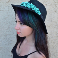 Teal Rose Headband #C1039