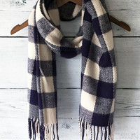 Navy Plaid Buffalo Scarf with Fringe