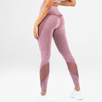 Women's Stretchy Skinny Sheer Mesh Stitching Workout Leggings Yoga Tights