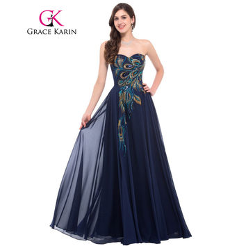 a3753451759c Grace Karin Strapless Peacock Evening Dress Long Chiffon Embroid