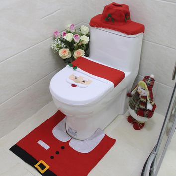 3pcs/set Christmas Toilet Seat Cover and Rug Bathroom Set  Christmas Bathroom Decoration Snowman Elf Santa Clause Print 8A1570