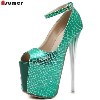 ASUMER 2018 Apring autumn ladies prom shoes peep toe buckle platform super high green gold women high heels shoes thin
