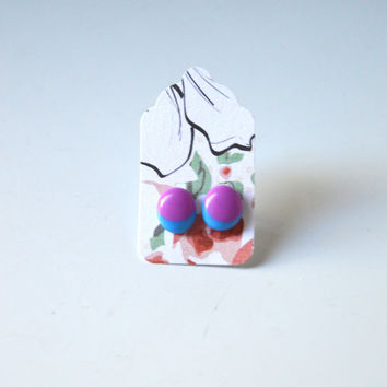 Stud Earrings - Plum Purple and Turquoise Stud Earrings - Tiny Stud Earrings - Post Earrings - Colorful Earrings - Handmade Enamel Studs