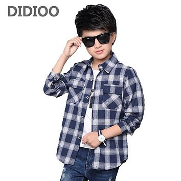 Kids Shirts for Boys Long Sleeve Plaid Tops Autumn Children Clothing Teenage Casual Blouses Plus Size Infant Shirt 9 12 14 Years