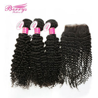 Peruvian virgin hair kinky deep curly  3 hair weft  with 1 free part top closure cheap price human hair Berrys