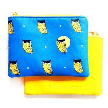 Owl Bird Animal Print Wallet Coin Purse Makeup Bag in Blue and Yellow