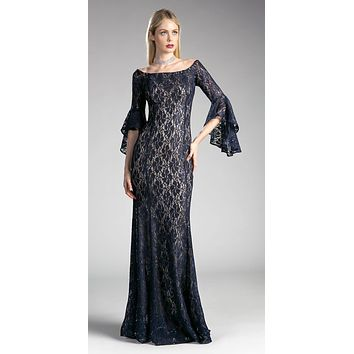 Off-the Shoulder Long Formal Dress Bell Sleeves Navy Blue