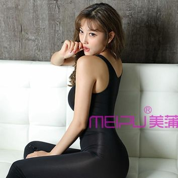Below zipper full bodystocking ,shinny Vest Full Body pantyhose ultra-thin top jumpsuits