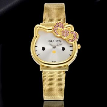 Gold Silver Stell Watch Ladies Fashion Casual Leather Strap Watch Hello Kitty Cat Quartz Bracelet Wrist Watch Relogio Feminino