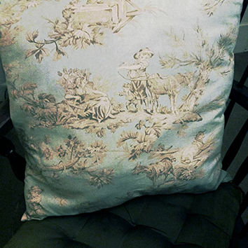 "Decorative Pillow Powder Blue Toile 19""× 19"""
