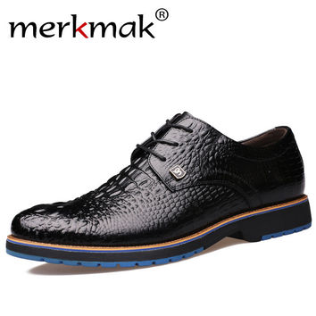 Merkmak 2017 Fashion Brand Leather Men Dress Shoes Business Luxury Leather Men Formal Shoes Casual Design Men Flats Men Oxfords