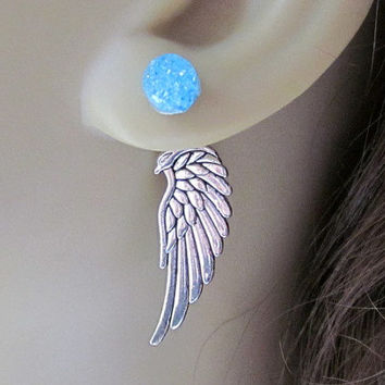 Angel Wing Reverse Earrings Phoenix Earrings Front Back Earrings Mother Dragon Egg Earrings Silver Fantasy Earrings Wing Ear Jacket