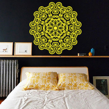 Wall Decal Vinyl Sticker Decals Art Home Decor Mural Mandala Ornament Indidan Geometric Moroccan Pattern Yoga Namaste Flower Om Bedroom AN34