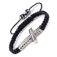 Crystal Rhinestone Sideways Cross Side Way Woven Braided Friendship Bracelet Adjustable | AihaZone Store