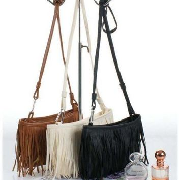 Bohemian Small Fringe Tassel Shoulder Cross-Body Clutch Fashion Ladies Bag
