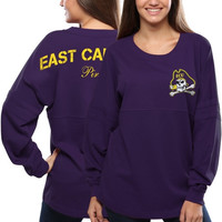 East Carolina Pirates Women's Pom Pom Jersey Oversized Long Sleeve T-Shirt - Purple