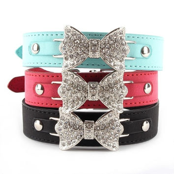 Dog Collar Bling Crystal Bow Leather Pet Collar Puppy Choker Cat Necklace XS S M = 1929604228