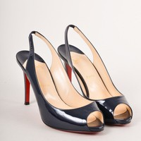 HCXX Navy Patent Leather Slingback Peep Toe Heels
