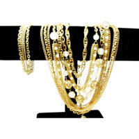1960s Five Strand Multi Chain and Bead Necklace with Matching Bracelet