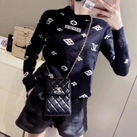 """Louis Vuitton"" Women All-match Fashion Letter Logo Knit Long Sleeve  Sweater Tops"