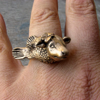 Cow fish ring bronze and stainless steel