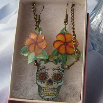 Rock-a-Billy Day of the Dead Sugar Skull Tattoo drop earrings and Necklace set