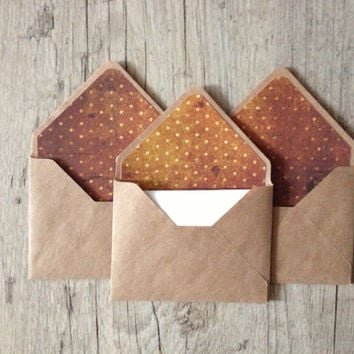 "Small envelopes 4""x3"" - set of 5 kraft envelopes - gift idea hostess gift - crafted writing set rustic - brown orange - europeanstreetteam"