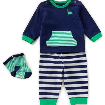 Little Me Baby Boys 3-12 Months Dino Long-Sleeve Top, Striped Pants, & Socks 3-Piece Set | Dillards