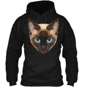 Low Poly Geometric Siamese Cat Face  Pullover Hoodie 8 oz