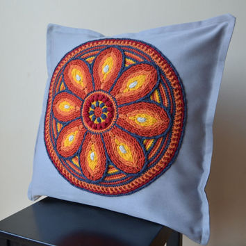 Mandala  crochet grey pillow cushion cover; Mandala pillowcase, cushion with mandala; mandala with flower