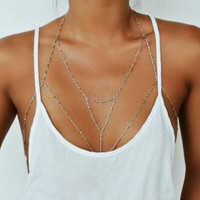Vintage Boho Summmer Gold Silver color Body Chain Jewelry sexy hippie