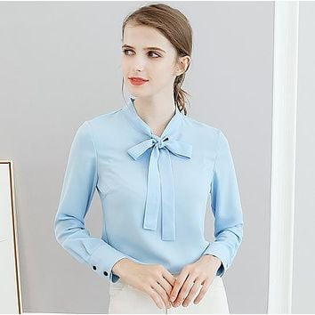 Chiffon Bow Women Blouse Shirt Blue Work Blouses Female Tops Elegant Summer Autumn Long-sleeved Shirts For Office Lady