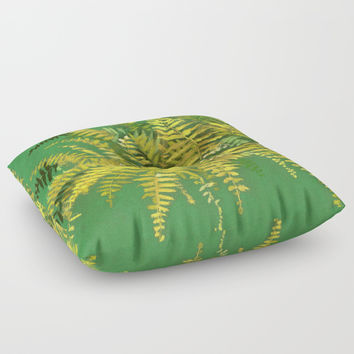 Golden Fern, floral art, green and yellow Floor Pillow by Clipso-Callipso