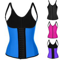 Hot Sale Women Waist Training Corset Sport Strap Adjustable Waist Trainer Latex Cincher Steel Boned  3 Hooks = 4804879300