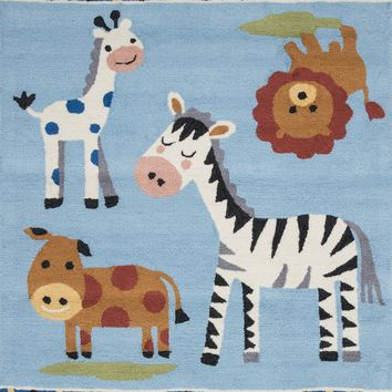 "Francesca Transitional Kid's Room Rug Blue / Multi 3'-6"" X 5'-6"""