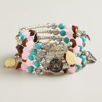 Silver, Turquoise, Pink and Tiger's-Eye Coil Bracelet