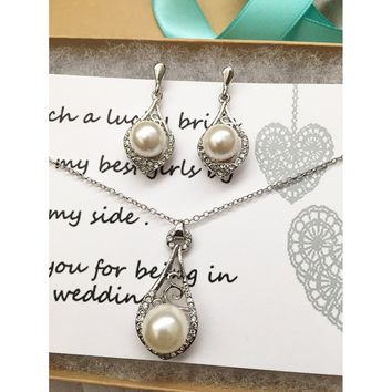 Pearl Bridal Necklace and Earrings Jewelry Set