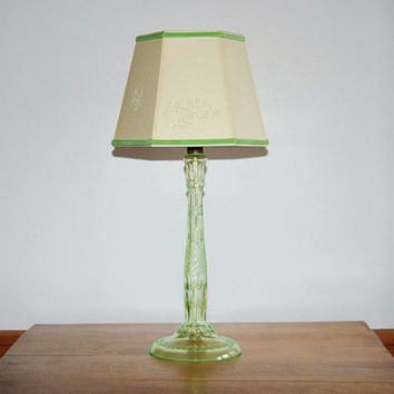 Vaseline Uranium Glass Lamp, Floral Etched Cut Uranium Glass Boudoir Lamp, Cottage Chic Victorian Cut Glass