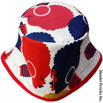 African Queen Face-off Bucket Hat   Afro   Afrocentric Hat   Natural Hair Hat   African Silhouette   Red Blue Gold Hat by Hamlet Pericles