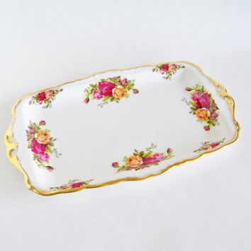 ROYAL ALBERT Old Country Roses Serving Platter Sandwich Tray