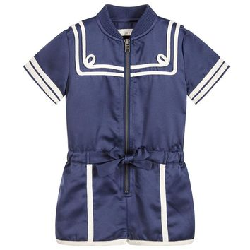 Stella McCartney Girls Navy Blue Majorette Romper